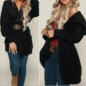 Jackets & Blazers - Teddy black hooded fuzzy Sherpa fur coat